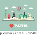 Set of Paris Attractions and famous places 43526500