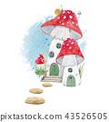 Watercolor mushroom house illustration 43526505