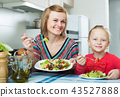 Adult mother and kid eating vegetable salad 43527888