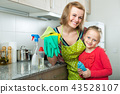 Little girl and mom tidy up at kitchen. 43528107