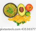 Guacamole Avocado with chips mexican food flat 43530377