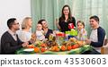 Big happy family home celebration. 43530603