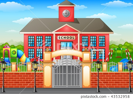 School building and playground area 43532958