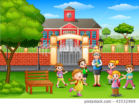 Happy school children with teacher in outside the  43532969