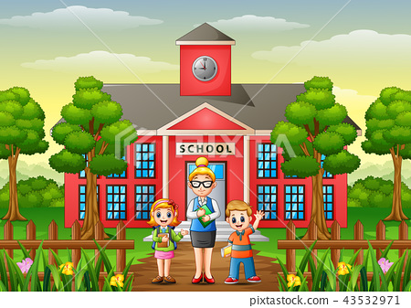 A students and teacher in front of school building 43532971