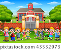 Vector illustration of Happy school children in ou 43532973