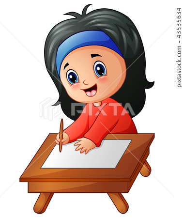 Little girl cartoon studying 43535634