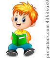 Schoolboy cartoon reading a book 43535639