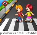 Little girl and boy crossing the street 43535660
