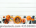 Table top view of decoration Happy Halloween day. 43536083