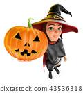 3D Witch with a big pumpkin. Halloween 43536318