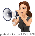 3D Business woman talking on a megaphone 43536320