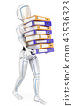 3D Humanoid robot loading with many ring binders 43536323