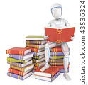 3D Humanoid robot sitting on pile of book reading 43536324