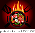 BBQ logo on a red background 43536557
