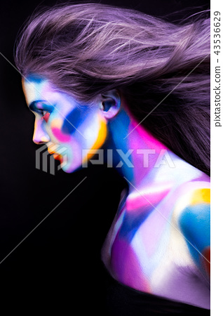 Halloween. Portrait of young beautiful girl with art make up 43536629