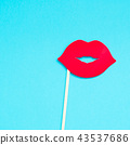 Red paper photo booth props female lips 43537686