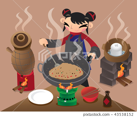 A Chinese woman stir-fry rice with a big wok 43538152