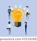 Businessman and Creative bulb light idea abstract  43539268