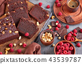 chocolate buckwheat pound cake cut in slices 43539787