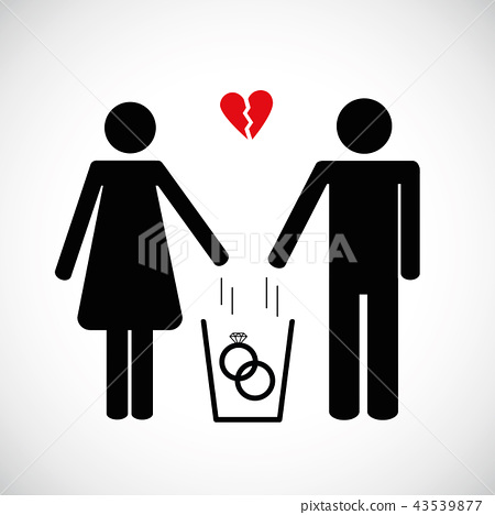 woman and man throws heart in the trash pictogram icon 43539877