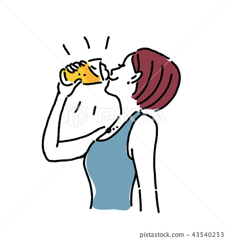 Illustration of a woman drinking beer 43540253