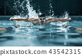 dynamic and fit swimmer in cap breathing performing the butterfly stroke 43542315