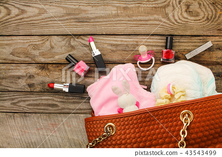 Mother's handbag with items to care for child 43543499