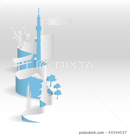 paper art of Fuji mountain. paper art of city. 43544537