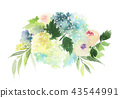 Watercolor greeting card with roses and hydrangeas 43544991