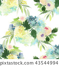 Seamless watercolor pattern with roses 43544994