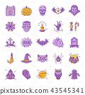 Halloween icon set, Colorful Halloween icons. Thin line art design, Vector flat illustration 43545341