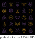 Halloween icon set. Colorful Halloween icons on an black background. Thin line art design, Vector 43545385