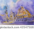 Watercolor painting House of the Blackheads in the old town of Riga Latvia Melngalvju nams, Schwarzh 43547568