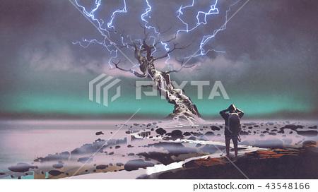 lightning above the giant tree 43548166
