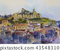 Watercolor painting Tbilisi old town City Mtatsminda Mountain The Narikala Fortress 43548310