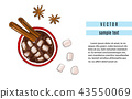 Hot chocolate drink with cinnamon and anise flavour. Winter holidays advertising. Christmas coffee 43550069