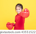 girl with red boxing gloves on yellow background 43551522
