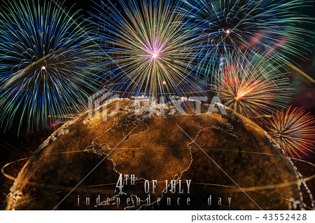Independence day 4th july text over the Multicolor Firework Celebration over the Part of Abstract planet earth particle background 43552428