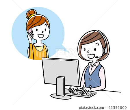 Stock Illustration: call center, woman, lady 43553000