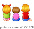 Back view of little three girl sitting together 43553328