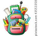School bag with school supplies 43553350