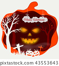 Happy Halloween with scary pumpkins 43553643