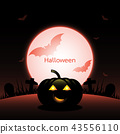 Halloween pumpkin created red moon background 43556110