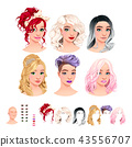 Avatars. 6 hairstyles, 6 make-up, 6 mouths, 1 head 43556707