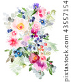 Flowers watercolor illustration 43557154