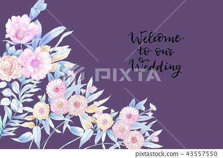 優雅的手繪水彩鉛筆玫瑰花花卉 43557550