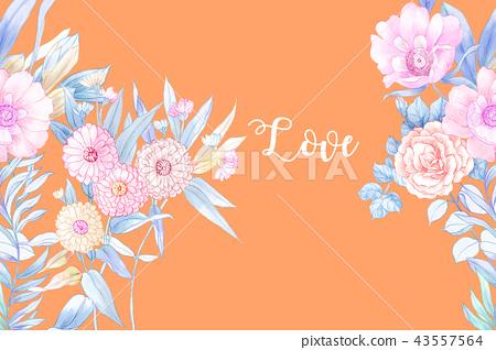 優雅的手繪水彩鉛筆玫瑰花花卉 43557564