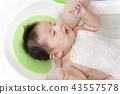 신생아 목욕 목욕 방법을 설명하는 매뉴얼 사진, 세안 단계. 43557578