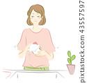 洗滌盤的婦女的例證 43557597